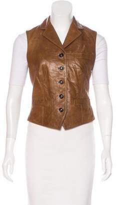 Ralph Lauren Leather Notch-Lapel Vest