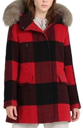 Woolrich McKenzie Buffalo Check Coat with Genuine Fox Fur Trim