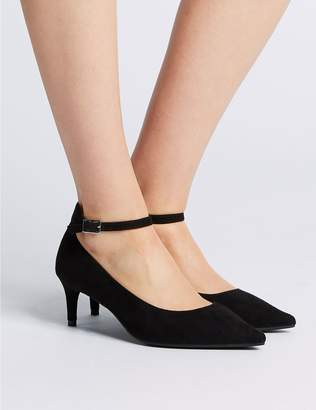 Marks and Spencer Wide Fit Kitten Heel Ankle Strap Court Shoes