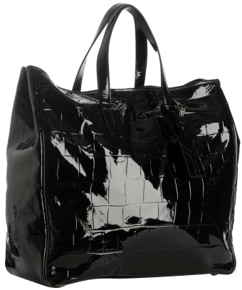 Yves Saint Laurent black croc patent 'Raspail' large tote