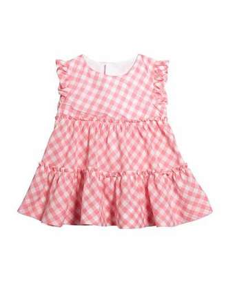 Mayoral Sleeveless Gingham Ruffle-Trim Blouse, Size 4-7
