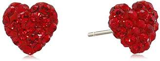 Swarovski 10K Yellow Gold Elements Ruby Crystal with Gold Filled Back Heart Earrings