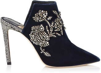 Jimmy Choo CAROLINE 100 Navy Velvet Mules with Peony Crystal Embroidery