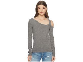 Lucky Brand One Shoulder Cold Shoulder Top Women's Long Sleeve Pullover