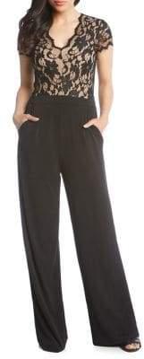 Karen Kane Contrast Lace Jumpsuit