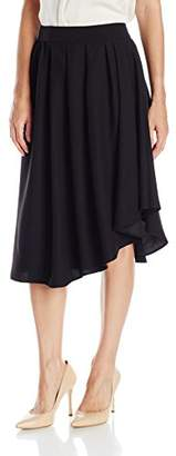 Lark & Ro Women's Softly Draped Asymmetrical Hem Line Skirt