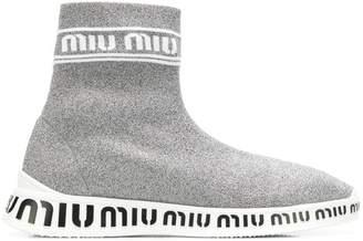 Miu Miu knit hi-top sneakers