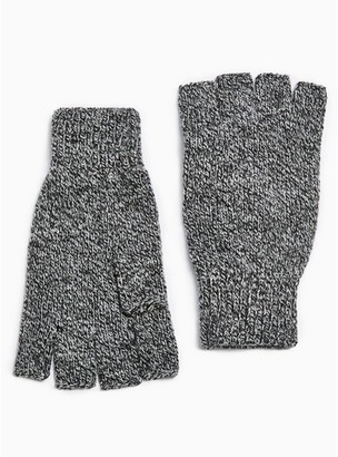 Topman Mens Grey Salt And Pepper Fingerless Gloves