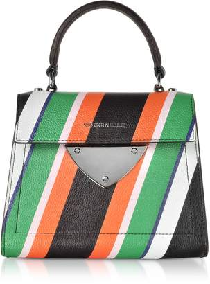 Coccinelle B14 Stripes Printed Leather Satchel Bag