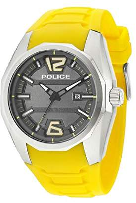 Police Men's Watch 47.5 mm Yellow Silicone Bracelet Gehà ¤ use stainless steel battery Dial Grey 14763JS13