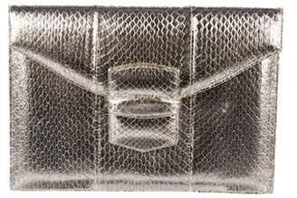 Oscar de la Renta Metallic Embossed Leather Clutch