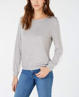 INC International Concepts I.n.c. Woven Knit Long-Sleeve Top, Created for Macy's