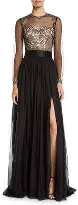 Catherine Deane Leslie Embellished & Sheer Long-Sleeve Gown