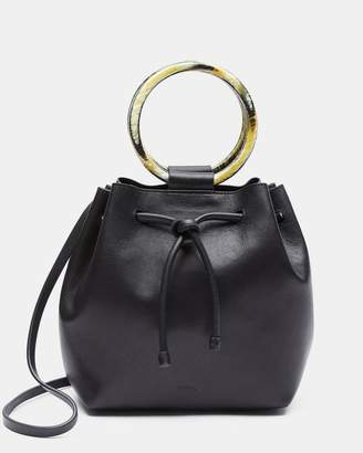Theory Small Drawstring Bag With Wax Cord Hoop in Soft Leather