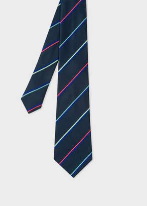 Paul Smith Men's Navy Thin Stripe Narrow Silk Tie