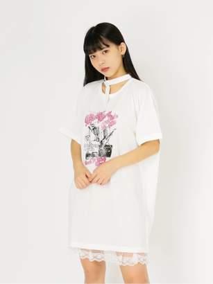 Ank Rouge (アンク ルージュ) - アンク ルージュ スカルチョーカーロックTシャツ