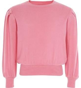 River Island Girls pink puff long sleeve sweater