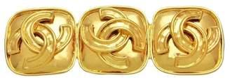 Chanel Triple CC Logo Gold Tone Metal Quad Pin Brooch