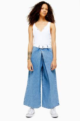 Topshop PETITE Bleach Wrap Belted Wide Leg Jeans
