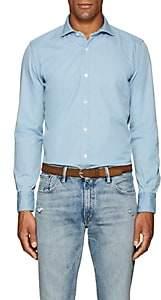 Eleventy Men's Cotton Chambray Shirt - Lt. Blue