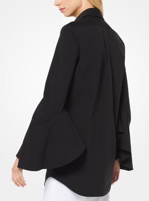 Michael Kors Stretch Cotton-Poplin Bell-Sleeve Shirt