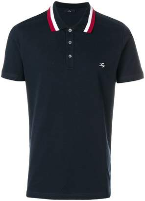Fay stripe collar polo shirt