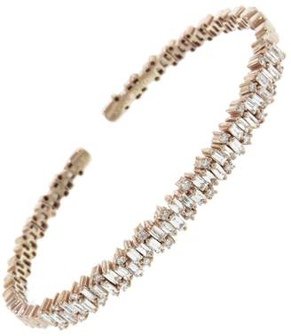 Suzanne Kalan Baguette Round Diamond Firework Bangle Bracelet - Rose Gold