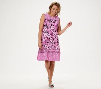 Denim & Co. Twin Print Dress with Ruffle Detail