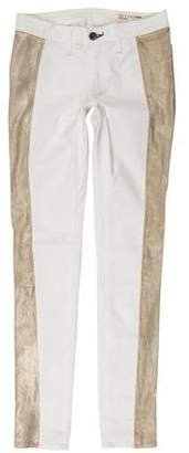 Rag & Bone Mid-Rise Leather-Trimmed Jeans