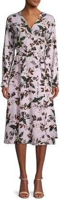 Diane von Furstenberg Floral-Print Silk Midi Wrap Dress