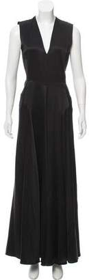 Calvin Klein Collection Silk-Blend V-Neck Evening Dress