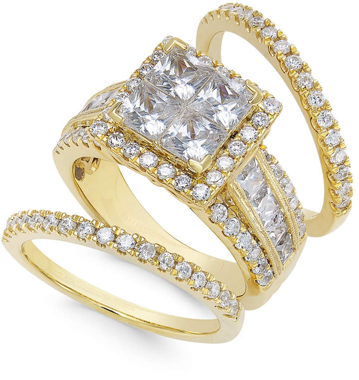 Macy's Diamond Cluster Bridal Set (3-1/2 ct. t.w.) in 14k Gold