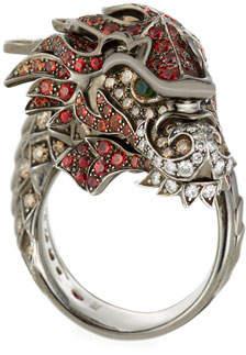 Roberto Coin 18k Cognac Diamond & Sapphire Dragon Ring, Size 6.5