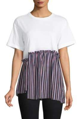 Striped Asymmetrical-Hem Tee