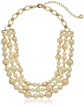 Anne Klein Gold Tone 3-Row Strand Necklace