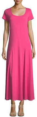 Joan Vass Cotton Interlock Scoop-Neck Maxi Dress, Petite