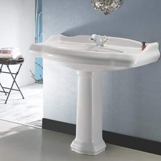 """Nameeks CeraStyle by 1837 Ceramic 35"""" Pedestal Bathroom Sink with Overflow CeraStyle by"""