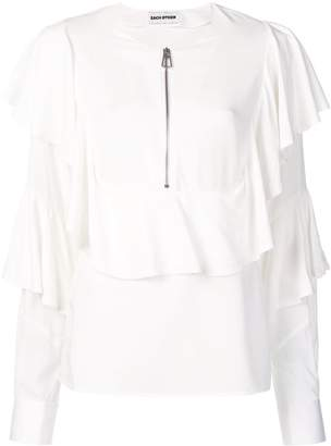 Each X Other zip front ruffled blouse