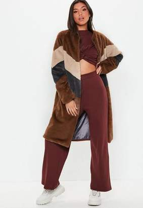 Missguided Brown Faux Fur Longline Colour Block Coat