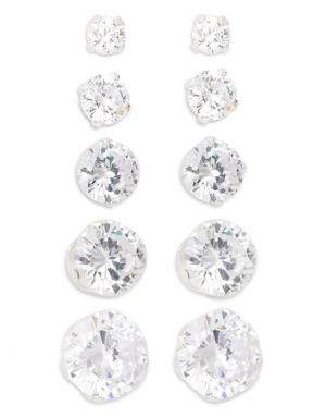 Lord & Taylor Five-Pair Sterling Silver & Cubic Zirconia Stud Earrings Set