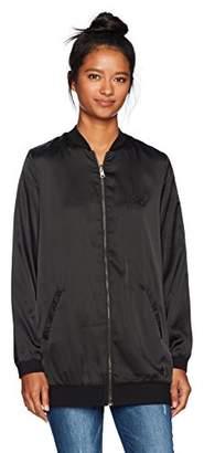 LIRA Women's Speakeasy Reversible Satin Long Bomber Jacket