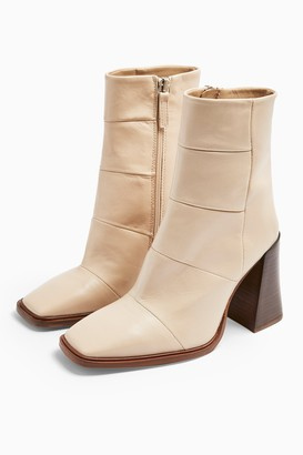 Topshop HARTLEY Leather White Boots