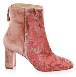 Alexandre Birman Regina Embroidered Velvet Booties