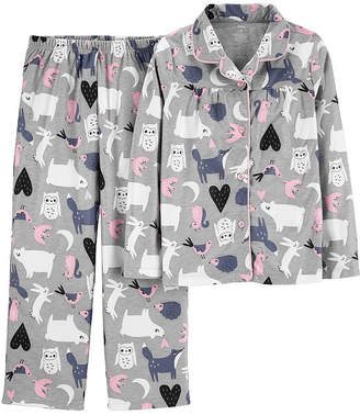 Carter's Button Front Long Sleeve Top & Pant 2-Pc. Pajama Set - Preschool Girls