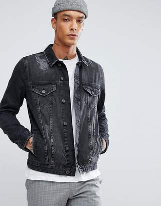Asos Design Denim Jacket in Black Wash With Rips