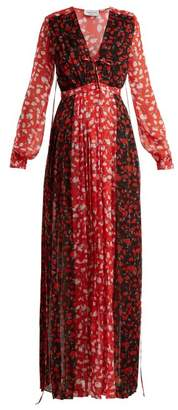 Raquel Diniz - Valentina Deep V Neck Floral Print Gown - Womens - Black Red