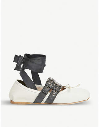 Miu Miu Asymmetric-strap leather ballerina flats