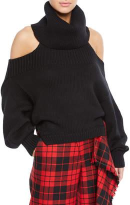 346  990 MonseTurtleneck Cutout One-Shoulder Wool Knit Sweater Black 17c471bdb92