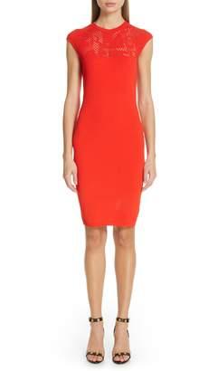 Versace First Line Logo Mesh Panel Body-Con Dress