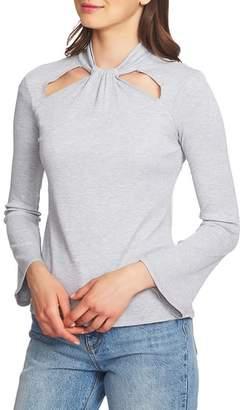 1 STATE 1.STATE Twist Neck Cutout Detail Rib Knit Top